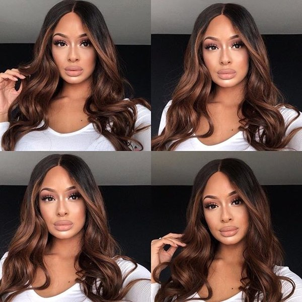 Glueless Full/Front Lace Wigs Burmese Hair Ombre color dark brown long Human Hair raw remy raw body wave
