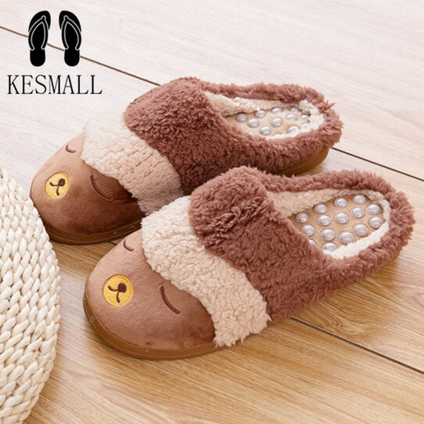 007559b91 KESMALL Massage Slippers Men Comfortable Shoes Winter Warm Anti-slip Indoor  Home Slippers Lovers Plush