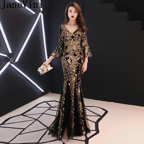 JaneVini Gold Pailletten Formale Abendkleid Kleid mit Ärmeln Arabisch Schwarz Meerjungfrau Frauen Prom Party Kleid Dubai Luxus Tüll Celebrity Dress