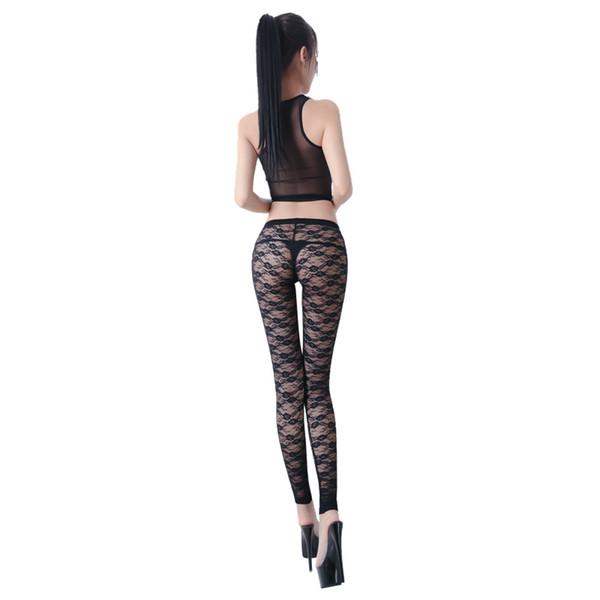 Femmes Lady Ultra-mince Perspective Pants Leggings En Dentelle Creuse Stretch Slim Élégant