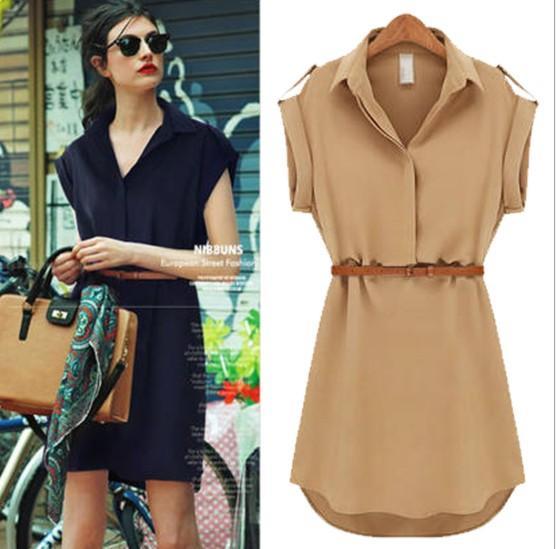 Femmes robe européenne et américaine à manches courtes en vrac chemise jupe grande taille Slim femmes mousseline de soie robe 3 couleur asiatique taille S-2XL