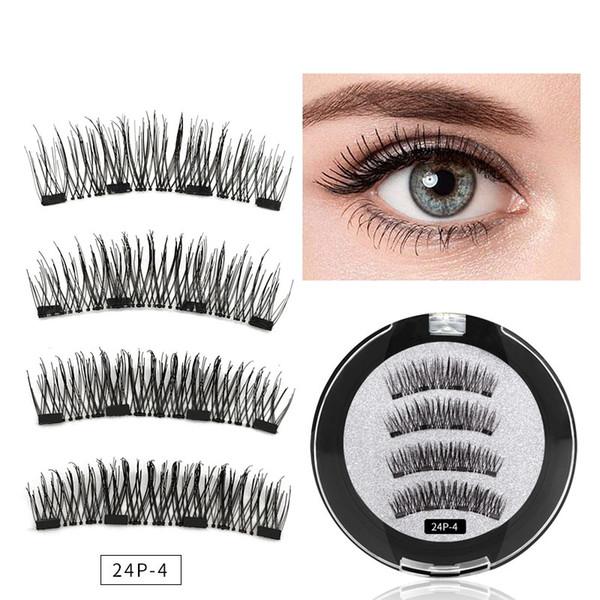 4 Magnetic Eyelashes Extension Natural False Eyelash 4 magnets Reusable 3D Magnetic Handmade Fake Eye Lashes Makeup Tools