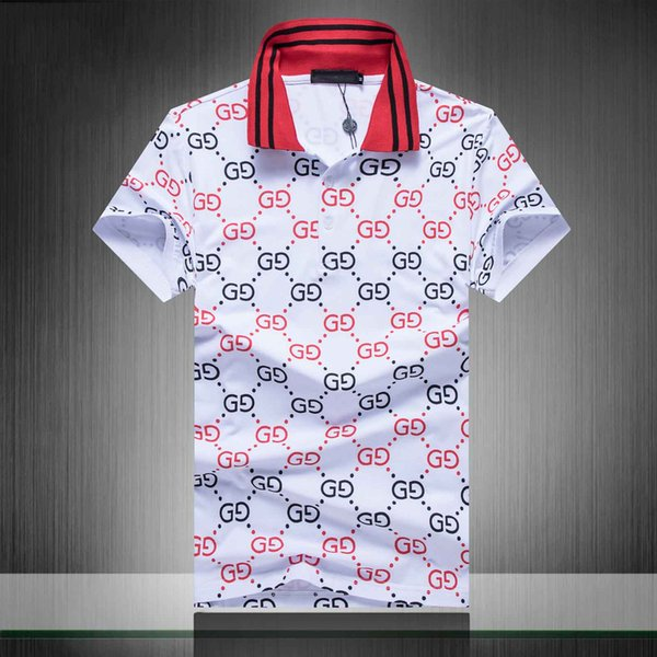 19ss marque nouveau luxe designer casual hommes polo chemises serpent abeille floral broderie mens polos High street fashion polo tops 3XL