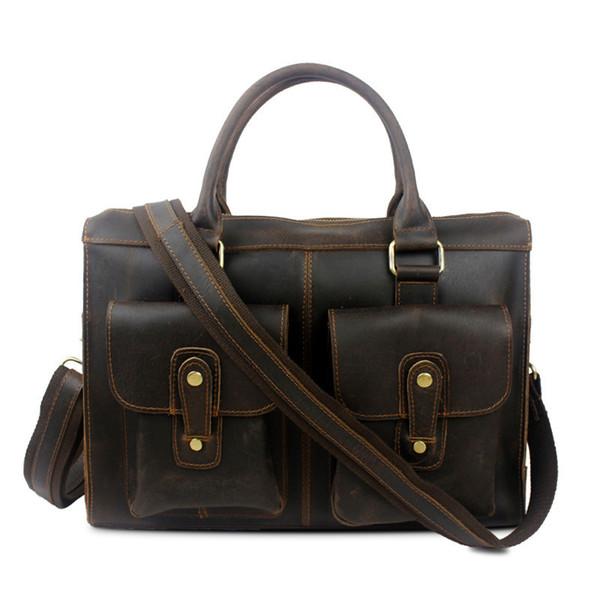 Messenger Bag 100% Genuine Leather Men Bag Briefcase Crazy Horse Cow Leather Men Handbag Laptop Brand Vintage Shoulder