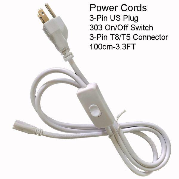 100CM 3PIN US-Netzkabel mit Schalter