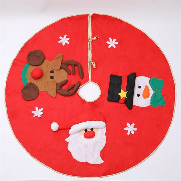 "39.4""/100cm christmas tree skirt santa claus snowman deer cloth base floor mat cover ornaments xmas tree holiday party decoration jk1910"
