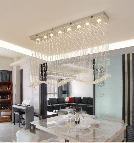 Cristal moderne vague Lustres d'éclairage Goutte de pluie K9 lampe en cristal de plafond pour salle à manger L39.4 * W7.9 * H39.4 pouces