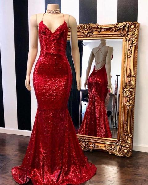 2019 Stunning Bling Bling Rose Red Sequined 2k19 Prom Dresses Mermaid Sexy Spaghetti Straps Sparkly Backless Formal Wear Evening Gowns
