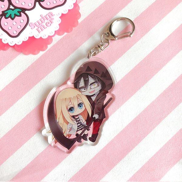 Anime Ángeles de la muerte llavero llavero de acrílico lindo Kawaii figura colgante llaveros regalos de recuerdo de Chaveiro
