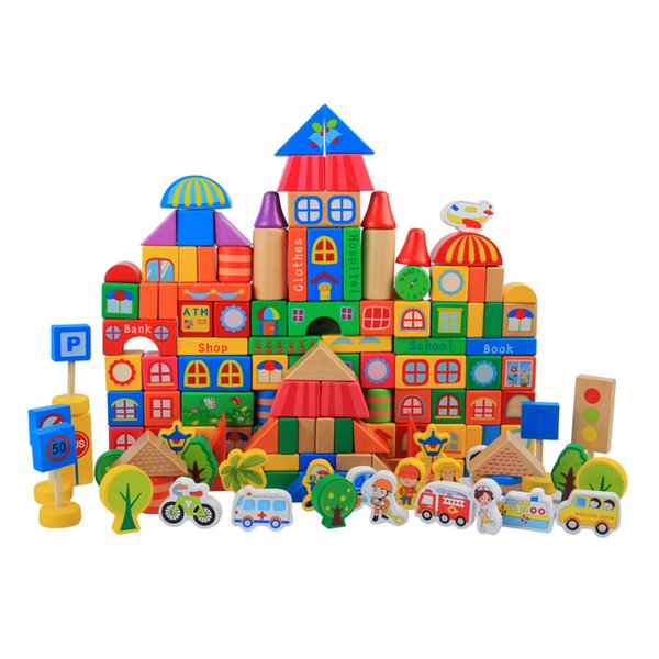 Giocattolo in legno sano Blocchi di costruzione della città Mappa della città di Ludo con segnale stradale persone piante shaps fai-da-te creare regalo giocattolo per bambini 3-6s