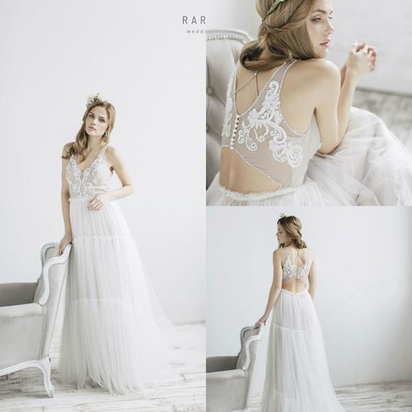 Modest Chic Lace Vestidos De Casamento Decote Em V Appliqued A Linha Sweep Trem Vestido de Noiva Boêmio Grânulos Baratos Vestidos de Noiva Plus Size