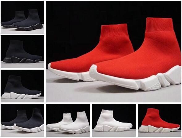 Cheap New Original 2019 Fashion Brand Women Men Running Shoes Black White Red Speed Trainer Sports Sneakers Top Boots Casual Sock Shoe mens