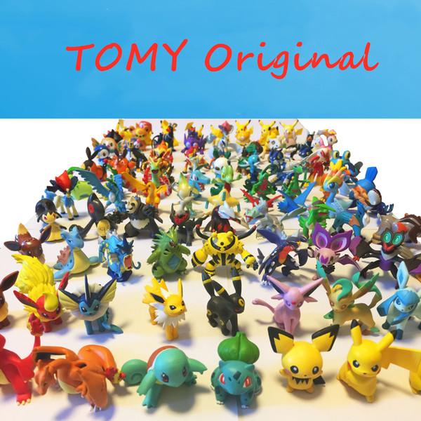 Venta caliente 100 estilos genuino original japonesa TOMY Pikachu Charmander Squirtle Bulbasaur Sílice 4 CM La figura de acción de accesorios de moda