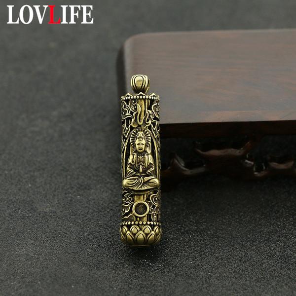 Latão Vintage Cilindro Estátua Buddha pingentes Keychain Pure cobre Lotus de Base auspicioso nuvens Padrão Sorte Key Chains Jóias