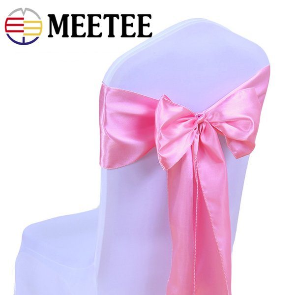 Meetee 275*18cm Colorful Satin Silk Chair Cover Tie Diy Grosgrain Ribbon For Package Wedding Party Decoration Handmade Craft
