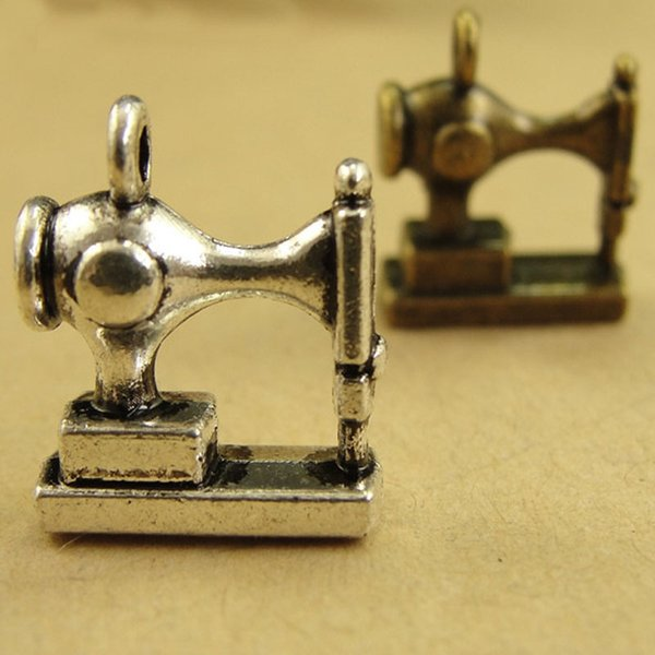15*12*6MM Antique Bronze Vintage Sewing Machine charm pendant Korea new, DIY handmade jewelry and accessories, silver charms lot