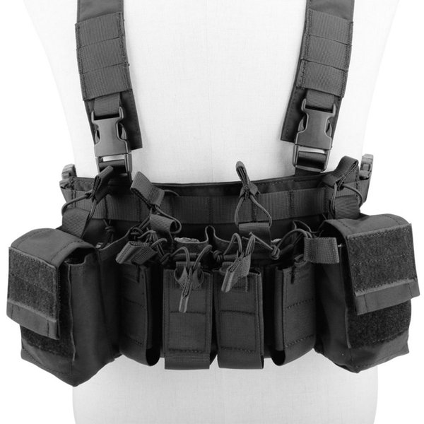 Easy Chest Rig Vest Adjustable Tactical Hunting Combat Recon Vest with Magazine Pouch Hunting Paintball