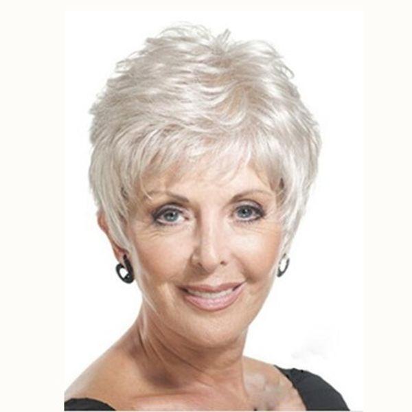 Mode Temperament Perücke weiß kurze glatte Haare Mutter Perücke Hochtemperatur Seide Perücke reine Farbe jooyoo