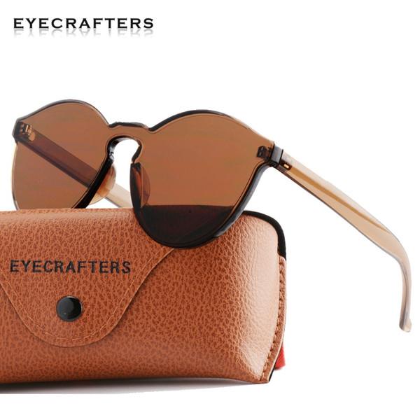 Moda Retro Vintage para mujer sin montura gafas de sol redondas Lady Clear Color de caramelo Gafas de sol Mujer Cool Brown Eyewear Oculos De Sol