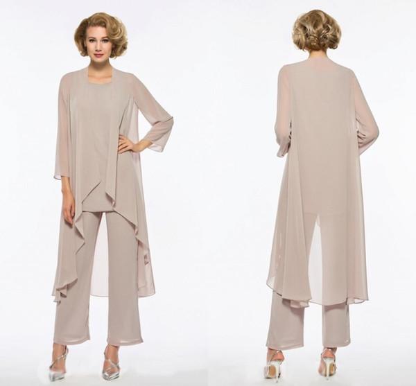 2020 moda champagne madre della sposa pantaloni dello sposo vestito plus size maniche lunghe maniche tre pezzi abiti da sera economici economici