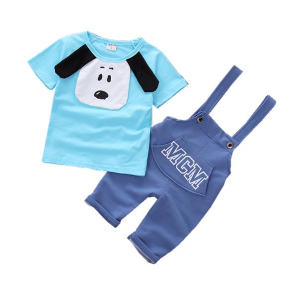2019 Children Boys Girls Cartoon Dog Clothing Sets Baby Short T-shirt Overalls 2 Pcs/sets Pure Cotton Summer Kdis Tracksuits