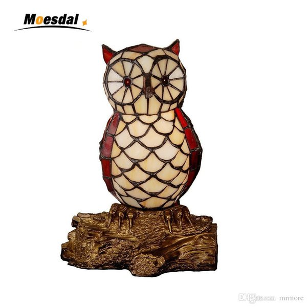 Stained Glass Table Lamp Quality Bedside Owl Lamp Creative Gift For Kids Home Docor Owl Bedside Table Lamp Light Fixtures