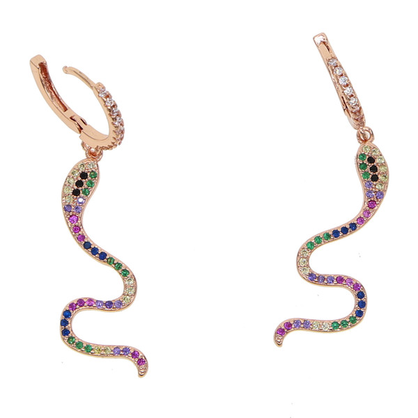 2018 hot fashion delicate rainbow cz wrap dangle snake shape cz bar earring Gold filled mix color CZ charm fashion women jewelry