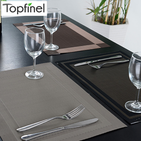 Wholesale -Top Finel 8pcs /Lot Pvc Plaid Vinyl Placemats For Dining Table Runner Linen Place Mat In Kitchen Cup Wine Mat Coaster Pad