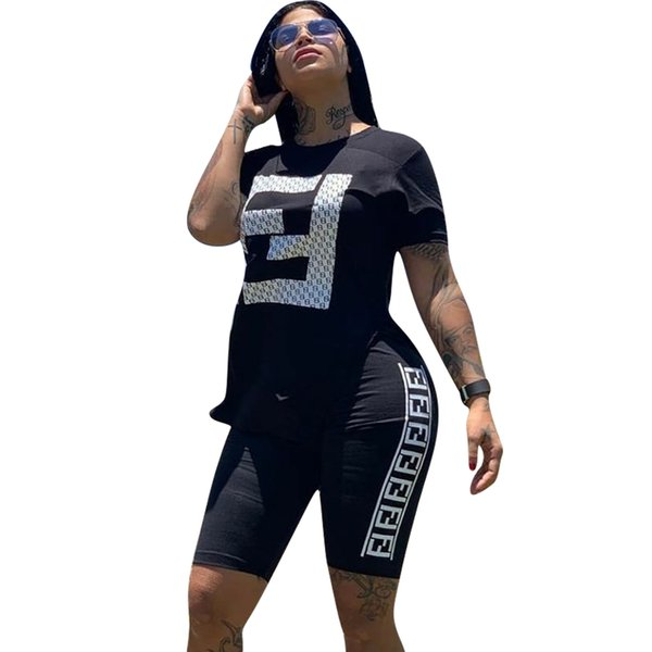 best selling double F letter tracksuit 2 piece set woman hot stamping sports pants suit girl short sleeves and pants summer clothing 006