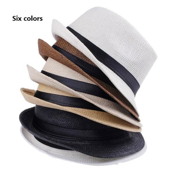 Fashion Hats for Women Fedora Trilby Gangster Cap Summer Beach Sun Straw Panama Hat with Ribbon Band Sunhat 150