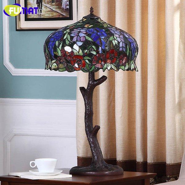 FUMAT Style Européen Salon Lit Chambre Lampe De Table En Verre Teinté Creative Art LED Glycine Fleurs Vintage Lampe De Table En Verre