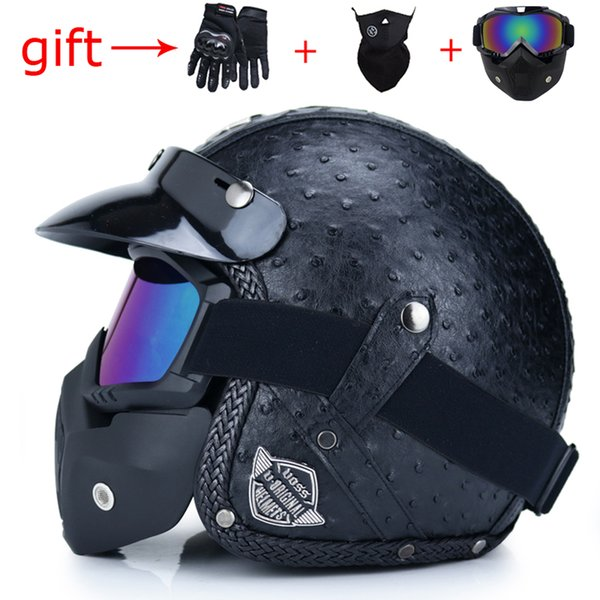 VOSS latest retro motorcycle helmet PU leather open face 3/4 chopper bicycle helmet capacete with goggles mask DOT approved