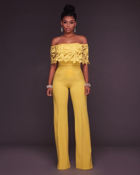 Yellow Jumpsuit Lace Playsuit Off Shoulder Summer Rompers Womens Jumpsuit Trousers Sexy Party Office Ladies Overalls Mono Mujer