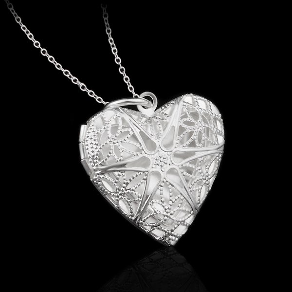 Retro Hollowed out Heart Photo box Pendant Necklace for Women Silvery color Jewelry Gift Dropshipping Wholesale