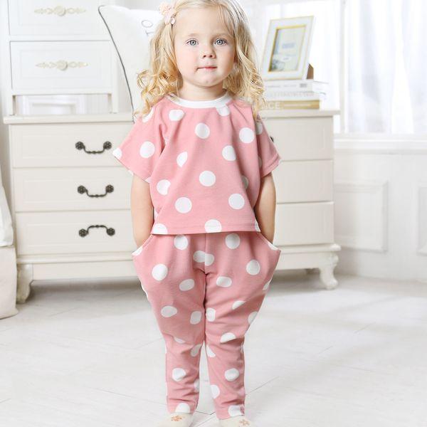 1 2 3 4 5 6 Ano Meninas Roupas Dot T-shirt Calças Compridas Crianças Roupas Set 2019 Nova Queda de Verão Crianças Ternos para a Menina Da Criança