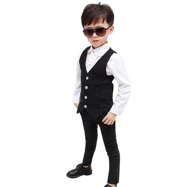 Boys Formal Suits Birthday Wedding Party Dress Kids Gentleman Vest Pants 2Pcs Clothing Set Piano Performance Prom Suits