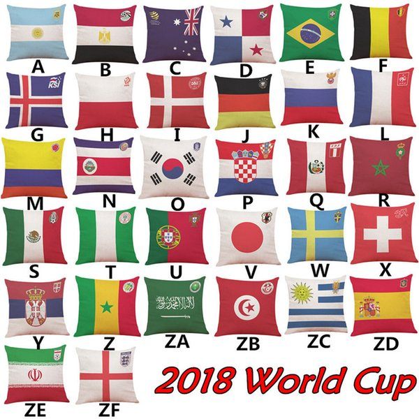 2018 Russia World Cup Home Car Decor Cushion Cover Soccer Decorative Pillow With Case Wholesale Seat Cushions Gift 45 * 45cm Free Shipping
