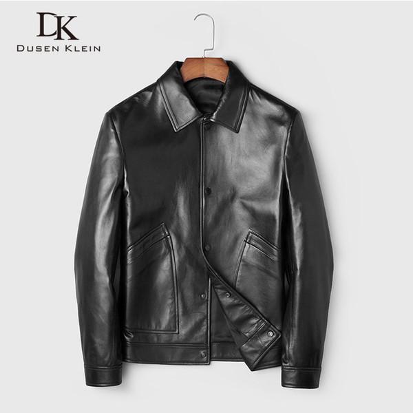 Men Genuine Leather Jacket Real Sheepskin Jakcets Casual Short Black Stand Collar Pockets 2019 Autumn New Jacket for Man 19C310