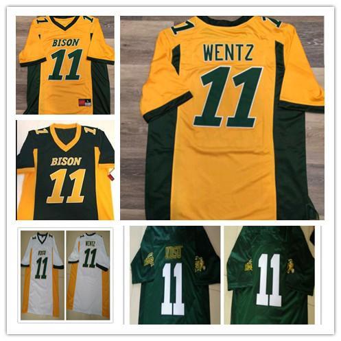 NDSU Bison # 11 Carson Wentz Mens Juventude Crianças Crianças Amarelo Ouro Verde Branco Costurado Dakota do Norte State College Futebol Jerseys S-XXXXXL