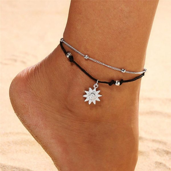 Bohemia Sun Pendant Beaded Anklet Bracelet for Women Simple Rope Alloy Double-layer in Summer Leg Ankle Foot Jewelry Anklets