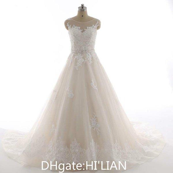 Champagne Wedding Dresses with ivory Lace Appliques Bridal Dress Plus Size Lace Wedding Gown Vestido De Noiva Bridal Gown Formal Occasion