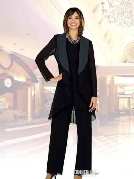 2019 New Elegant Chiffon Mother Of The Bride Pant Suits with Jacket Three Pieces Ruched Bridal wedding Guest Party Gowns Mother's Dresses