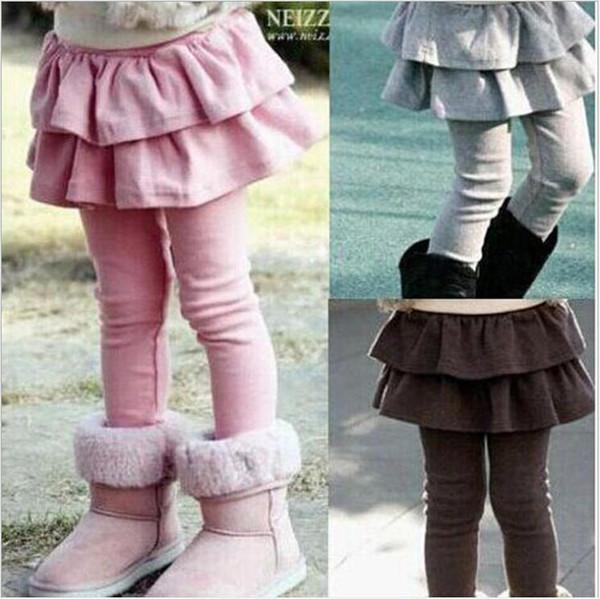 Baby Pantskirt Ruffle Culottes Leggings Pantyhose Kids Cotton Tights PP Pants Girls Stockings Spring Princess Pants Christmas Trousers B6179