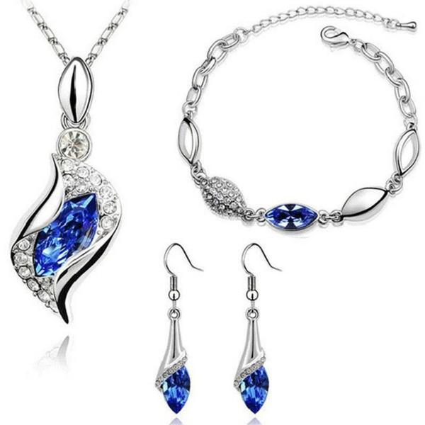 Gifts Sales Elegant Luxury Design New Fashion Drop Necklace Earrings Bracelet Filled Colorful Austrian Crystal Drop Jewelry Sets Women