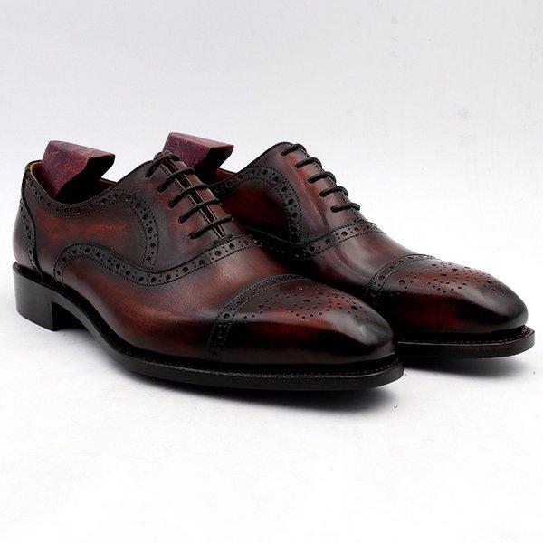 Düğün ayakkabı erkek elbise ayakkabı patine şarap elbise ayakkabı hakiki buzağı deri taban erkekler resmi deri el yapımı ...