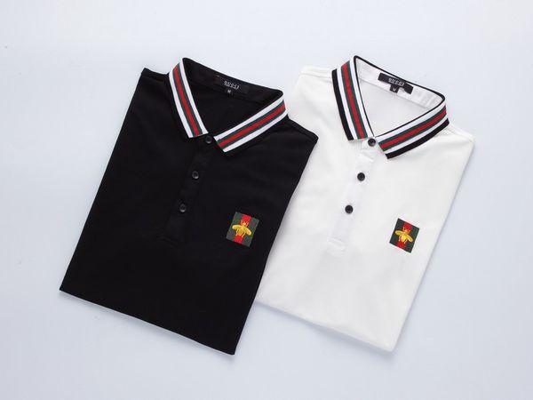 Мужские Дизайнерские Рубашки Поло Сплошной Цвет Топы Мужчины Полосатый Отворот Поло Кнопка Вышивки Животных Высокого Качества Мужская Одежда