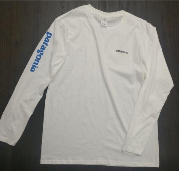 White Tshirts PATAGONIA Print Long Sleeve T-Shirts Mens Womens Fashion Brand Skateboard Hip Hop Tees Hommes Casual Tops Lovers