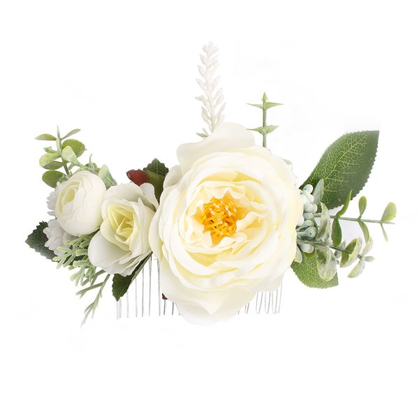 Rose Flower Hair Combs Wedding Crown Headwear Blooming Flower Headband for bride girls flower hair clip Wedding Jewelry