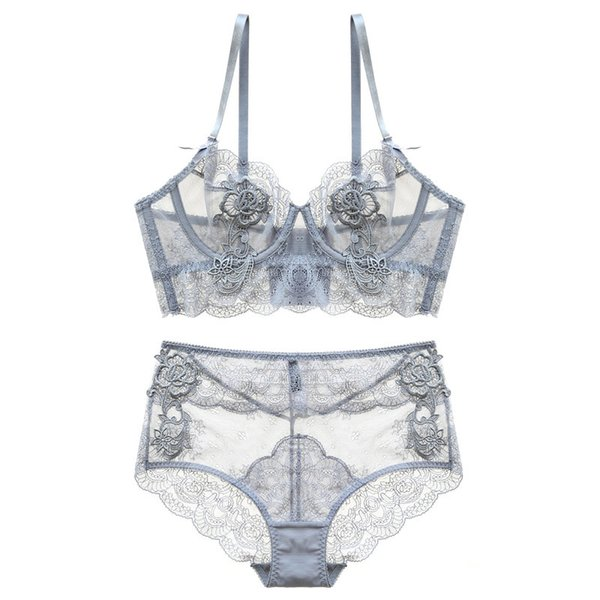 Gather New Adjusted Thin Cup Lingerie Bra Set Underwear Transparent Temptation Sexy Bra Set For Women High Waist Bra & Brief Set