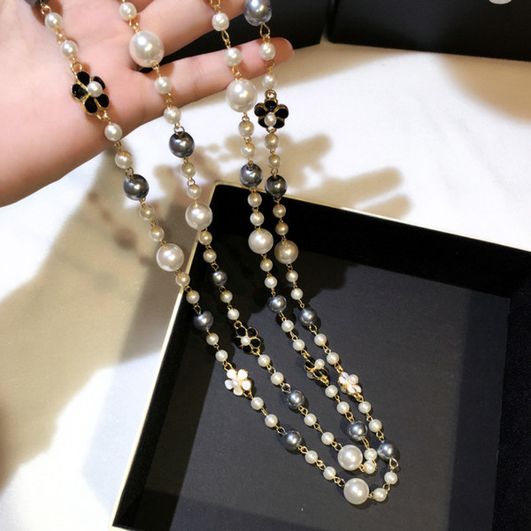 Fashion luxury designer classic style elegant flowers colorful pearls long chain double layer sweater necklace for woman